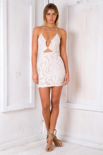 Once In A Lifetime Dress - Nude/ White Lace
