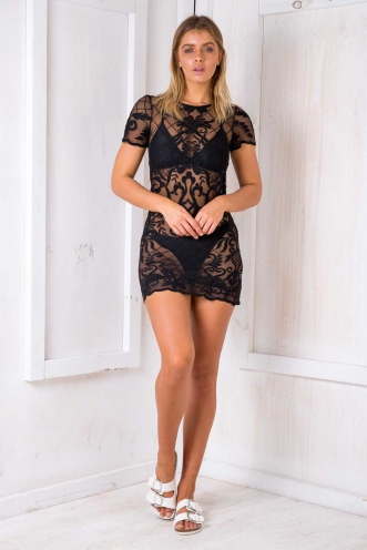 Call It Out Dress - Black Lace