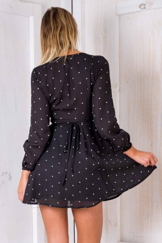 Clarissa Wrap Dress - Black Polka Dot