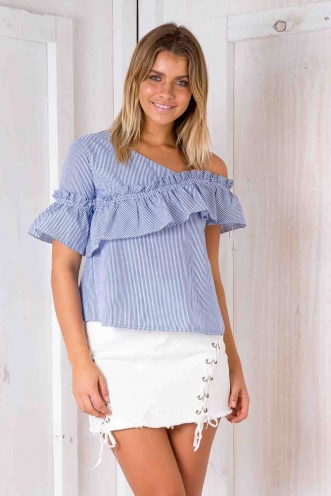 Babydoll Top - Blue/ White Stripe