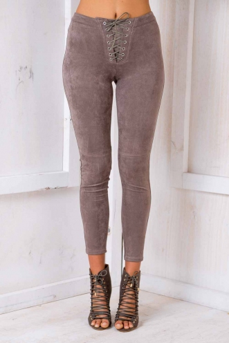 Jessie's Girl Pants - Brown Suede-SALE