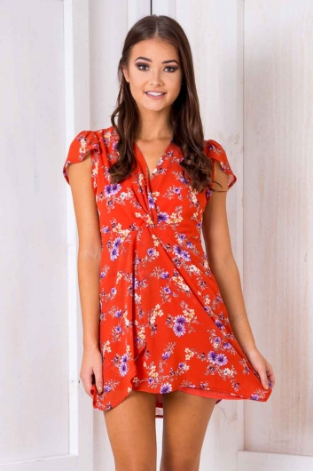Aloha Dress - Orange Floral