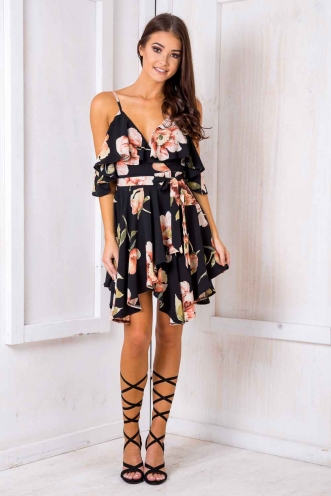 Dance Fever Dress - Black Floral