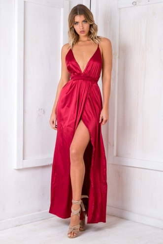 Agnes Satin Maxi Dress - Red