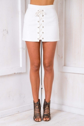 Funky Fresh Denim Skirt - White