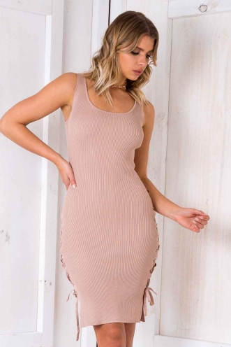 Give Me Attention Dress - Beige
