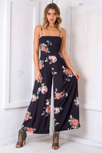 Spirit Walker Jumpsuit - Black Floral