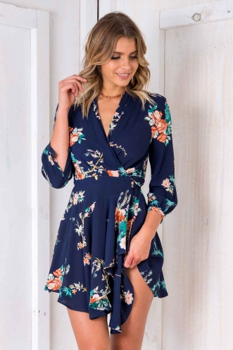 Tay Tay Dress - Dark Blue Floral
