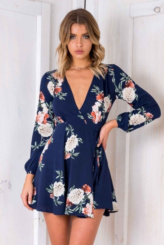 Clarissa Wrap Dress - Navy Floral