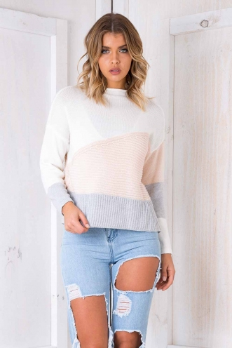 Sweet Gestures Jumper - White/ Blush/ Grey