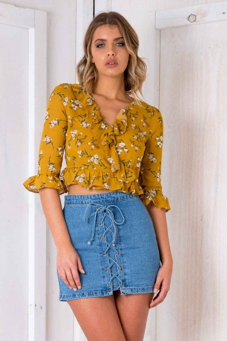 Adelaide Top - Mustard Floral