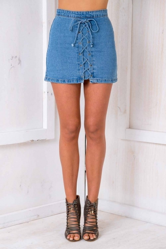 Funky Fresh Denim Skirt - Blue