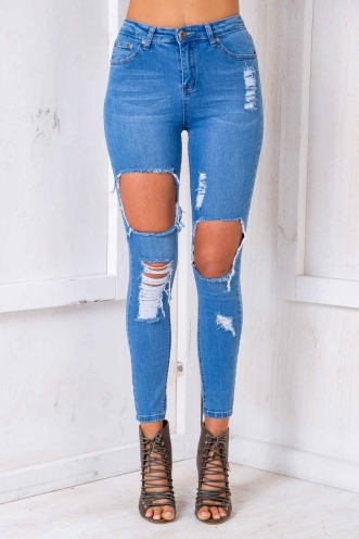 Walk The Walk Jeans - Blue Denim