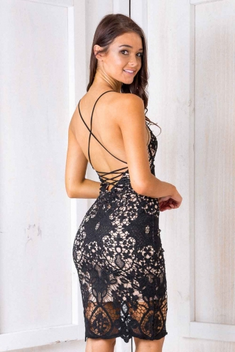 Ocean Melodies Dress - Nude/ Black Lace