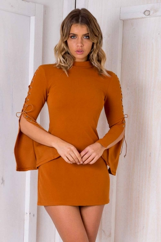 Uptown Girl Dress - Burnt Orange