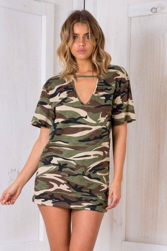 Shanghai Oversized Dress - Army Print