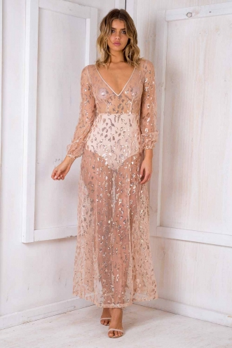 Mila glitter mesh dress - Gold