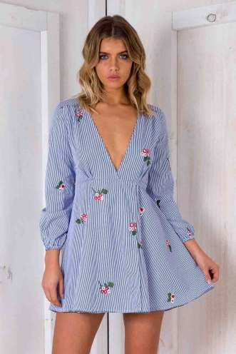 Clarissa Wrap Dress - Blue/ White Strip Floral-SALE