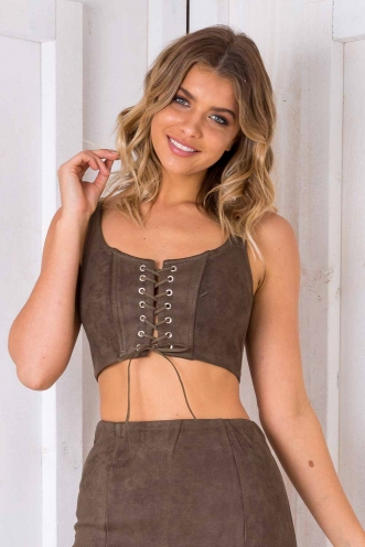 Go Hard Crop Top - Khaki