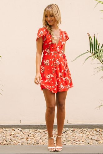 Milly wrap dress - Red floral