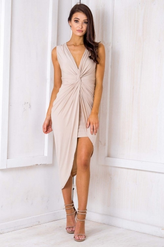 Tahlia Wrap Dress -Tan