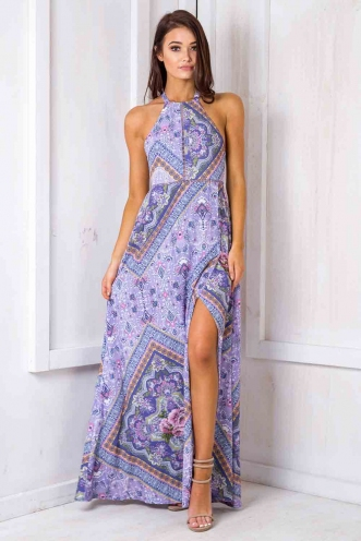 Rosie floral maxi dress -Purple flowers