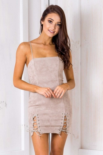 Valeria Dress -Tan Suede
