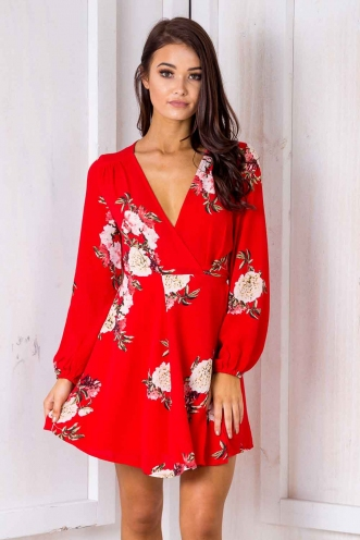 Clarissa Wrap Dress -Red floral