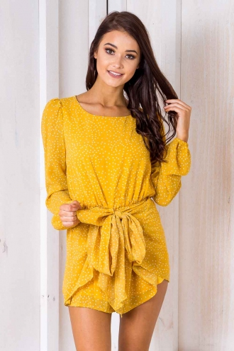 Dallas Playsuit -Yellow Polka Dots