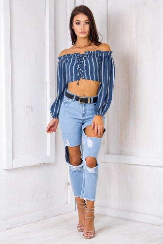 San Diego Top -Blue Striped