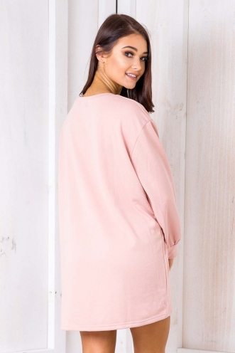 Boyfriend Jumper Dress -Salmon