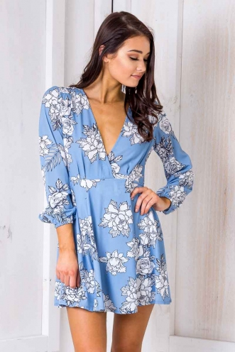 Clarissa Wrap Dress- Blue/White Floral