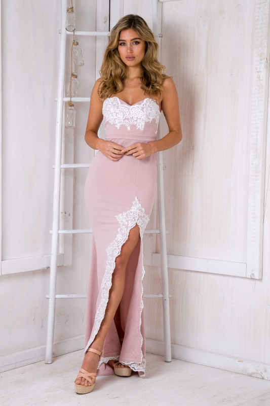 Delilah strapless evening gown - Light pink-SALE - Stelly
