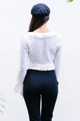 Can't Get Enough Top- White Polka Dot