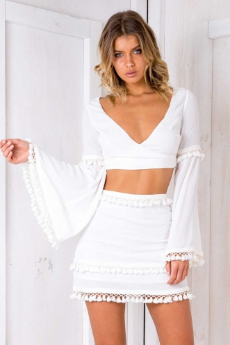 Gypsy Crop Top -White