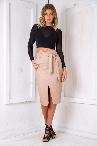 Walk This Way Skirt- Beige