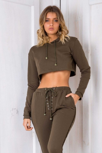 Irreplaceable Crop Jumper - Khaki