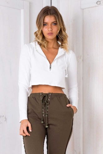 Solace Crop Jumper - White