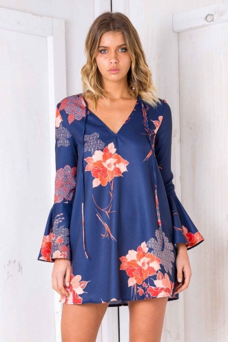 Esme Dress- Navy/Orange Floral