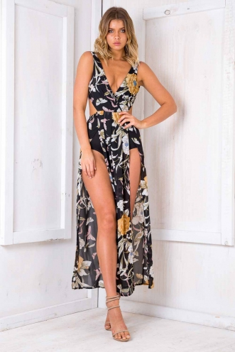 Havana bodysuit dress - Black Floral