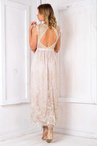 Shine On Dress- Beige Sparkle
