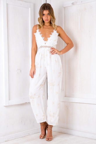 Set Times Jumpsuit - White Floral