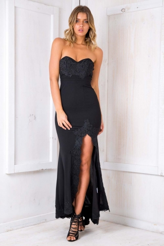 Delilah strapless evening gown - Black