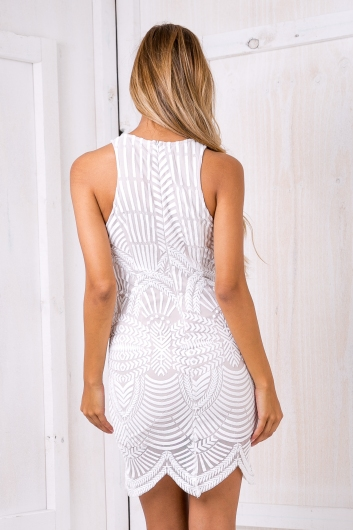 Alivia bodycon dress - White/Nude