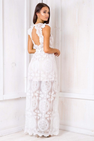 Sweet Serenade Dress - Beige/ White Lace