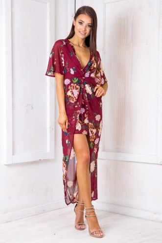 Secret Love Dress - Maroon Floral
