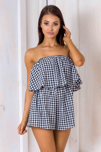Ashley playsuit - Black/ White check