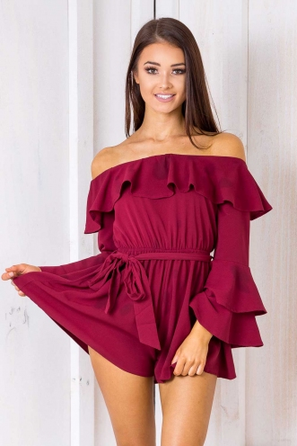 Wonderful World Playsuit - Maroon
