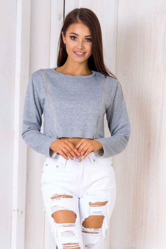 Teenage Dream Crop Jumper - Grey