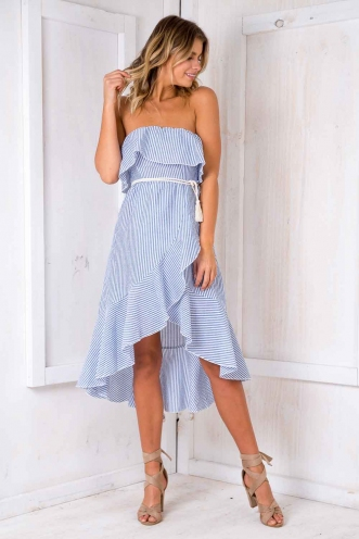 Our Song Dress - White/ Blue Stripe